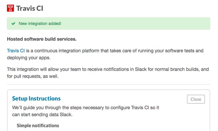 Screenshot of adding Slack integration